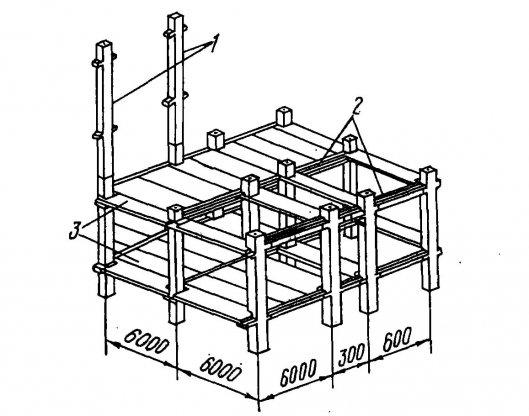 Монтажная схема железобетонного каркаса